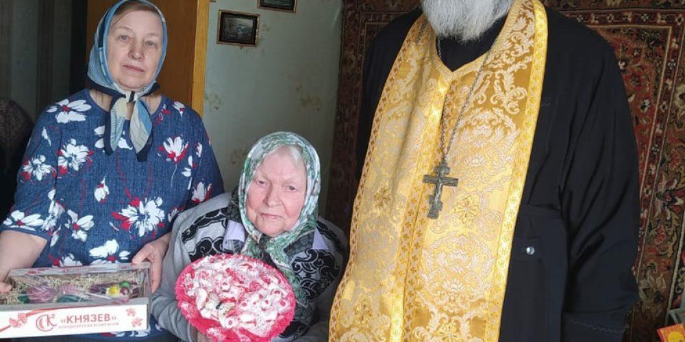 В храме Иверской иконы Божией Матери поздравили с днем рождения старейшую прихожанку