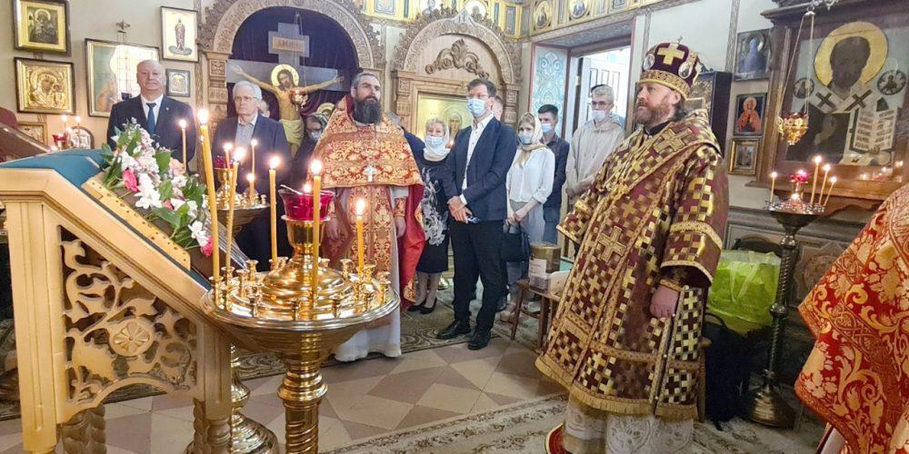 Литургию в престольный праздник в домовом храме святых равноапостольных Константина и Елены возглавил епископ Фома