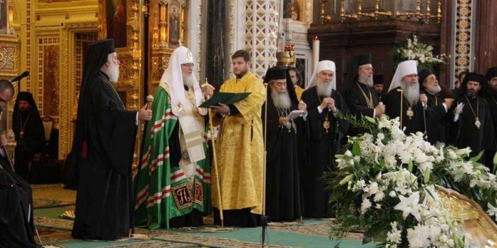 В день памяти святой равноапостольной Ольги, великой княгини Российской, Предстоятели и иерархи Поместных Православных Церквей совершили Литургию в Храме Христа Спасителя