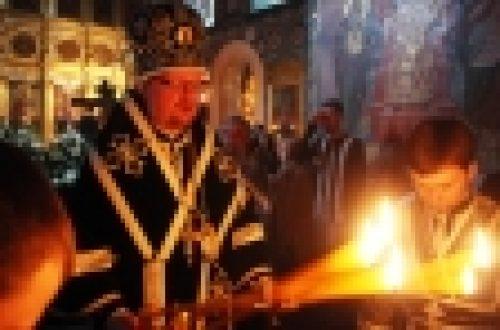 Епископ Бронницкий Игнатий совершил вечерню с выносом Плащаницы Спасителя в храме Рождества Иоанна Предтечи на Пресне