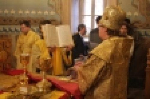 Епископ Бронницкий Игнатий воглавил Божественную Литургию в храме Рождества Иоанна Предтечи на Пресне