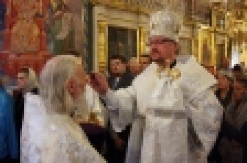 Епископ Бронницкий Игнатий совершил Всенощное бдение в канун праздника Вознесения Господня в храме Рождества Иоанна Предтечи на Пресне