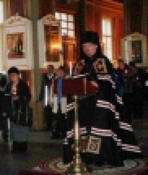 Епископ Выборгский Игнатий совершил повечерие с чтением Великого канона преп. Андрея Критского в Спасо-Преображенском соборе г. Выборга