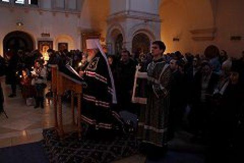 Митрополит Истринский Арсений совершил повечерие с чтением Великого канона прп. Андрея Критского в Зачатьевском монастыре