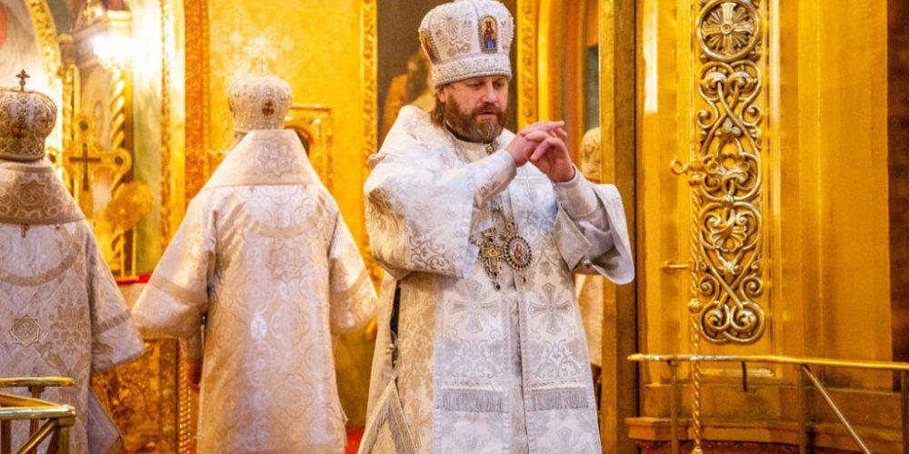 В 12-ю годовщину со дня кончины Святейшего Патриарха Алексия II епископ Павлово-Посадский Фома сослужил на Литургии в Богоявленском соборе