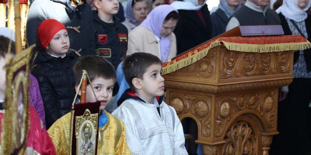 Свыше 140 детей приняли участие в детской Литургии в храме Великомученика Георгия Победоносца Патриаршем Подворье на  Поклонной Горе