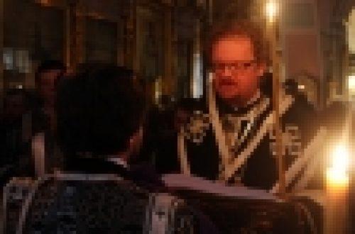Епископ Бронницкий Игнатий совершил вечерню с акафистом Страстям Христовых в храме Рождества Иоанна Предтечи на Пресне