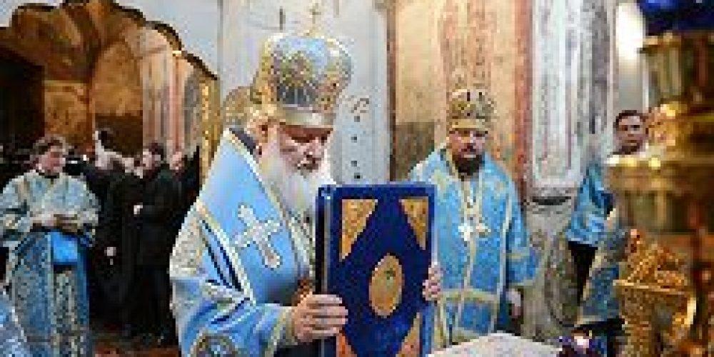 В праздник Благовещения Пресвятой Богородицы Святейший Патриарх Кирилл совершил Божественную литургию в Благовещенском соборе Московского Кремля