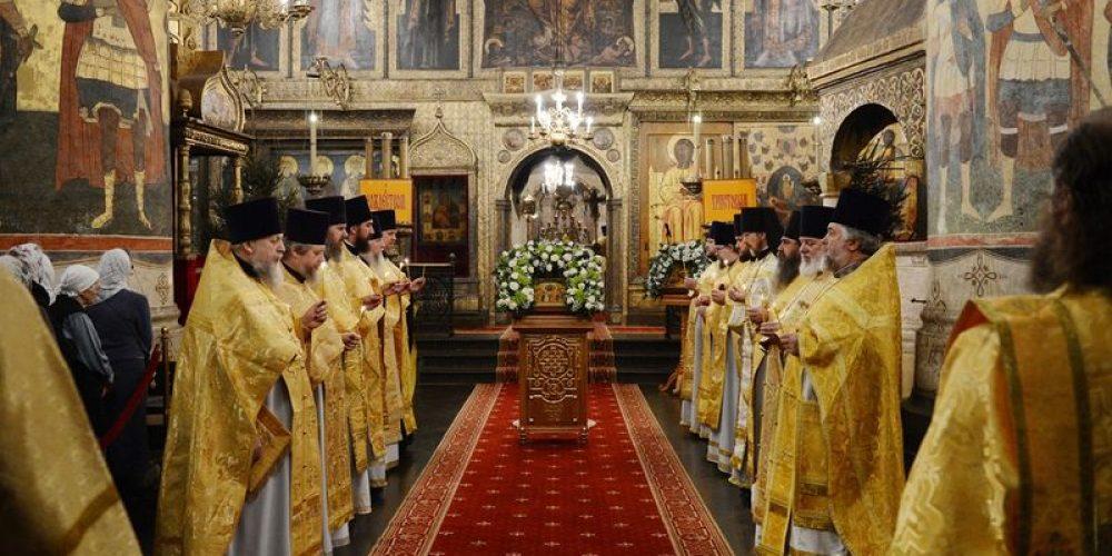 В праздник Собора Пресвятой Богородицы торжества в Успенском соборе Московского Кремля