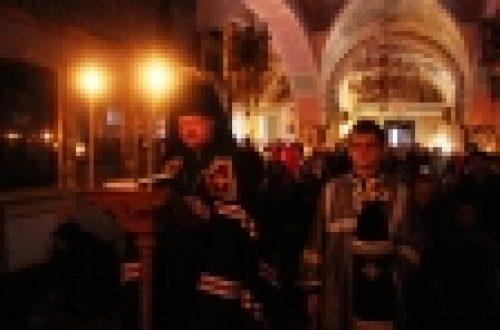 В четверг епископ Бронницкий Игнатий совершил повечерие с чтением Великого канона прп. Андрея Критского в храме Рождества Иоанна Предтечи на Пресне