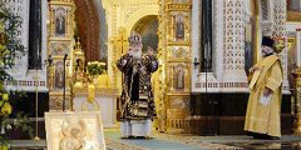 В пятую годовщину интронизации Святейшего Патриарха Кирилла в кафедральном соборном Храме Христа Спасителя совершена Божественная литургия