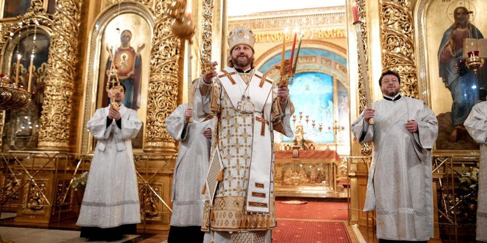 В праздник Светлого Христова Воскресения епископ Одинцовский и Красногорский Фома возглавил богослужение в Богоявленском соборе