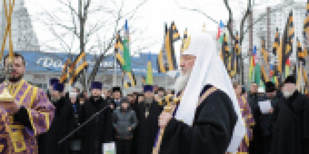 Предстоятель Русской Церкви совершил чин освящения закладного камня в основание строящегося храма в честь святителя Ермогена