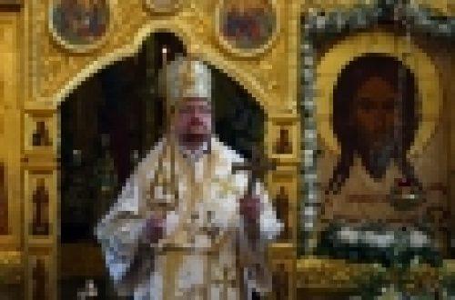 Епископ Бронницкий Игнатий совершил Божественную Литургию в храме Спаса Нерукотворного Образа на Сетуни