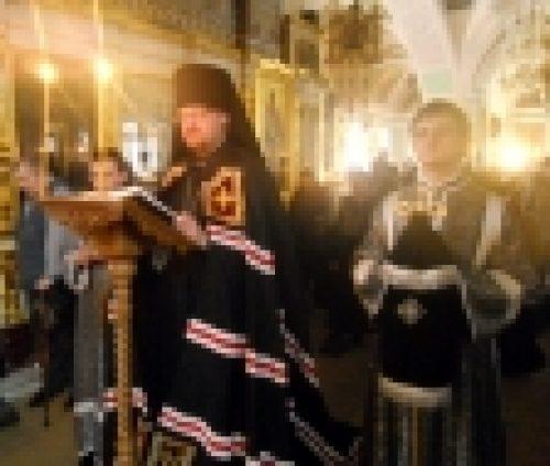 Епископ Бронницкий Игнатий совершил Утреню с чтением Великого канона св. Андрея Критского в храме Рождества Иоанна Предтечи на Пресне