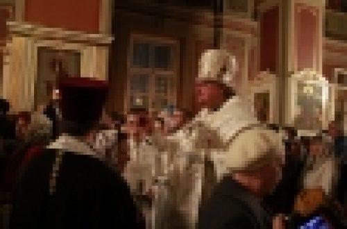 В канун праздника Крещения Господня епископ Игнатий возглавил Всенощное бдение в кафедральном Спасо-Преображенском соборе г.Выборга