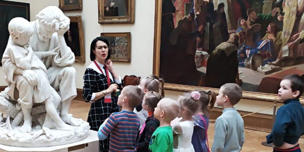 """Дети из приходской творческой группы """"Юные художники"""" храма Иоанна Русского в Кунцеве посетили Третьяковскую галерею"""